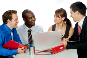 A group of consultants having a meeting